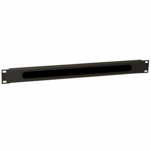 WP Guía Cable con cepillo 1U black  RAL 9005